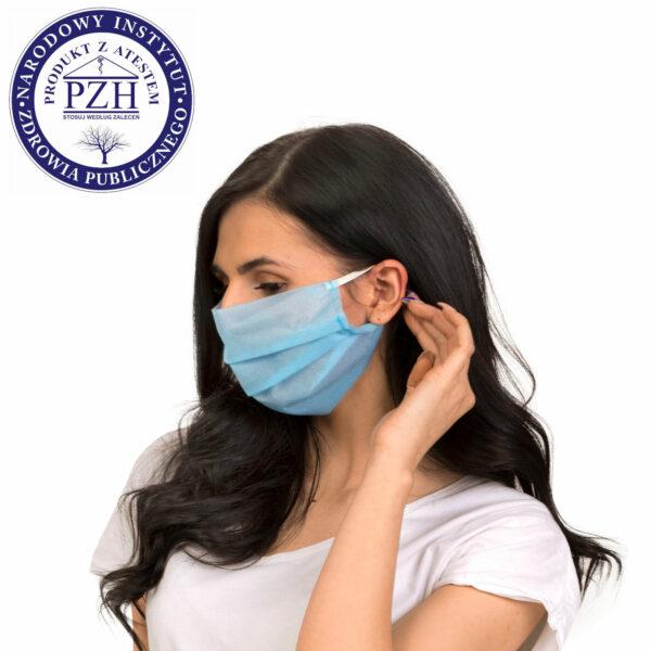 dostepna maska ochronna jednorazowa niebieska profil atest higieniczny