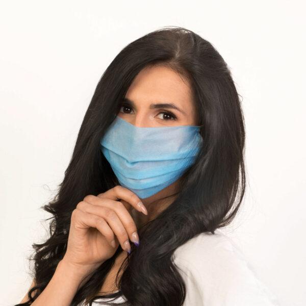 dostepna maska ochronna jednorazowa niebieska przod