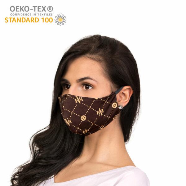 dostepna maska ochronna wielorazowa bawelniania brandowana certyfikat profil 2