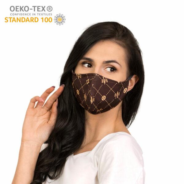 dostepna maska ochronna wielorazowa bawelniania brandowana certyfikat przod