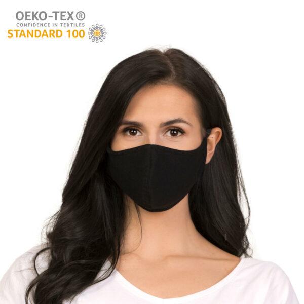 dostepna maska ochronna wielorazowa bawelniania czarna certyfikat przod