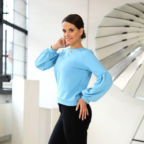 Bluza z bufkami niebieska 039 bok LAVEL