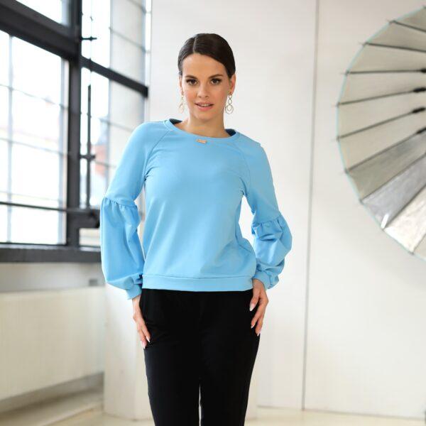 Bluza z bufkami niebieska 039 przod LAVEL