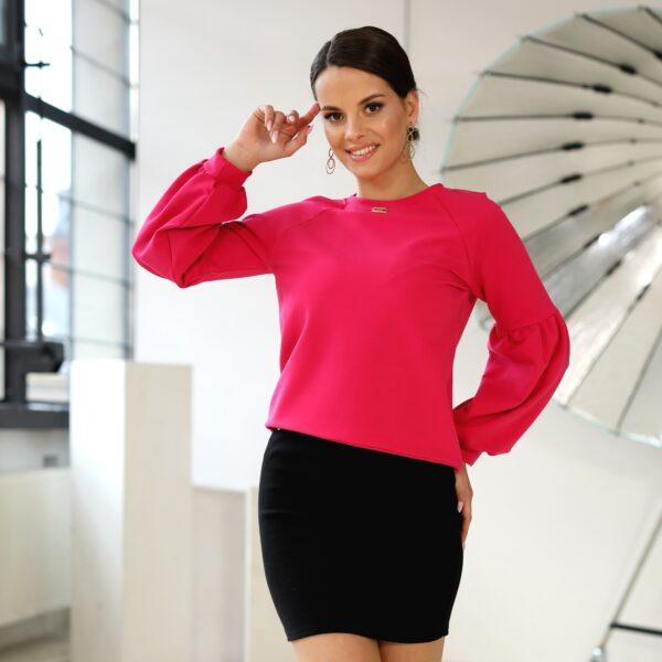 Bluza z bufkami rozowa 037 przod LAVEL