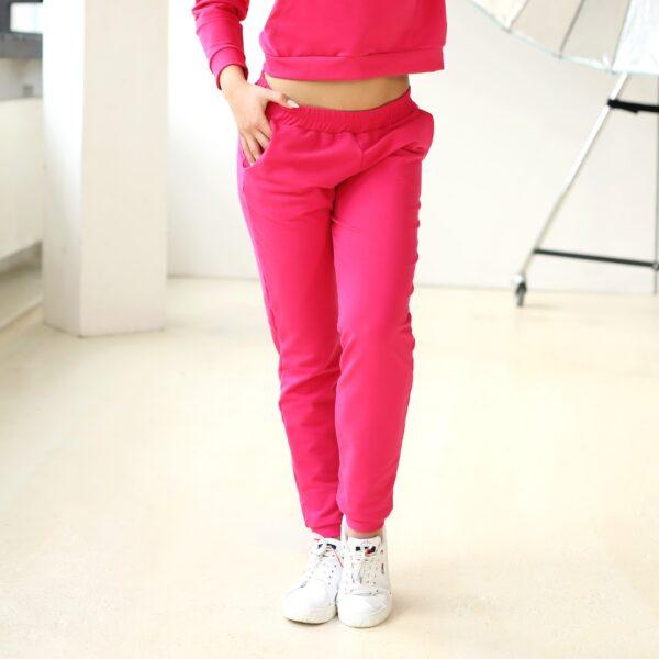 Spodnie dresowe z kieszeniami rozowe 029 przod LAVEL