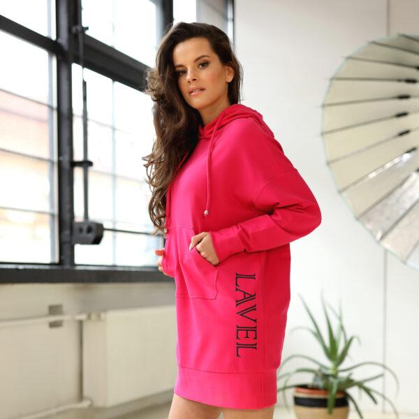 Długa bluza z kapturem - różowa - bok