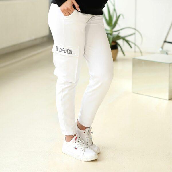 spodnie z kieszenia biale